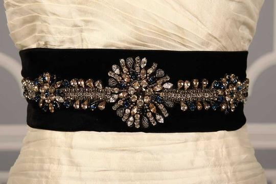 Anne Barge Black with Sapphire & Clear Faceted Crystals Drew 4149 Embellished Sash Sashes