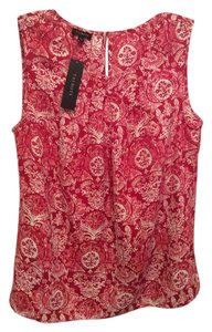 Talbots Top Red / White Print