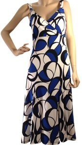 Vibrant Blue, Black & White Maxi Dress by Anne Klein Long
