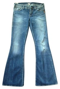 Silver Jeans Co. Distressed Sretchy Flare Leg Jeans-Distressed