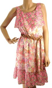 Gianni Bini short dress Multi-Color Sleeveless Floral Belted on Tradesy