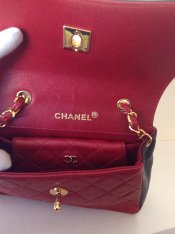 Chanel Classic Flap Vintage Mini Card Case Red Navy Blue Lambskin Leather Cross Body Bag Tradesy