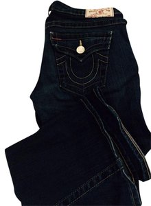 True Religion Rinse Distressed Boot Cut Jeans-Dark Rinse