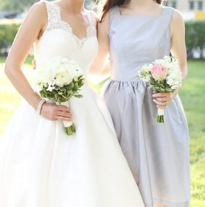 Alfred Sung French Gray Peau De Soie D520 Traditional Bridesmaid/Mob Dress Size 8 (M)