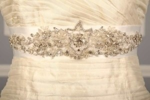 Your Dream Dress Exclusive Bridal White Crystal Beaded B555 Satin Sash