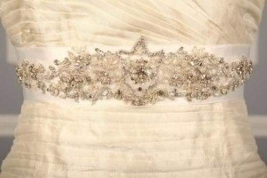 Bridal White B555 Crystal Beaded Sash