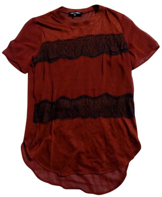 Item - Red Sheer Blouse with Black Lace Tee Shirt Size 0 (XS)