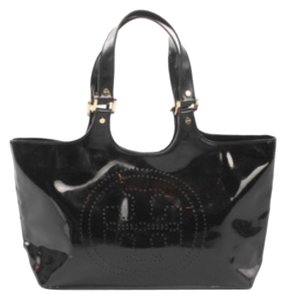 Tory Burch Patent Leather Gold Hardware Perforated Logo Metal Feet Satchel in Chocolate Brown
