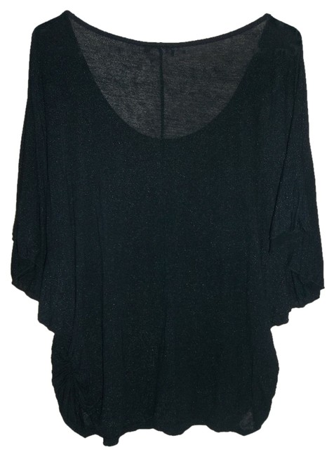 Perseption Women Dolman Sleeves Butterfly Sleeves Top Black with Silvery Highlights