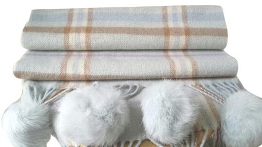 Other SOFT Cashmere Wool Plaid Winter Scarf WITH Fur Accents