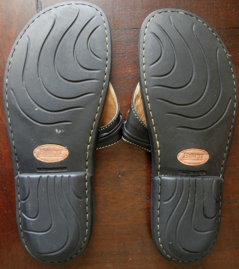 Børn Leather Comfort Thong Cushioned Footbed Black with accents Sandals