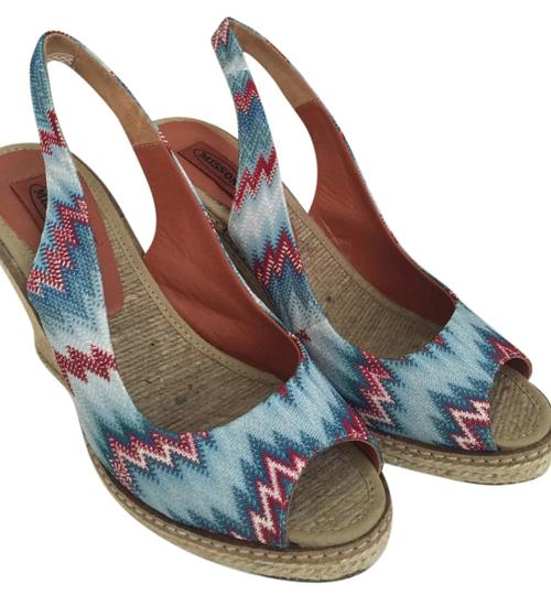 Missoni blue, red Wedges