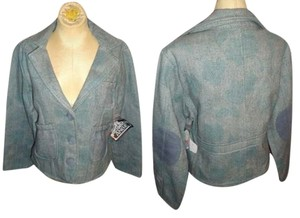 Angie Tweed Floral Jacket Boho Retro Juniors Lined green Blazer