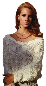 American Apparel Cream Stylish Offtheshoulder Off Shoulder Aa 3d 3-d Sweater