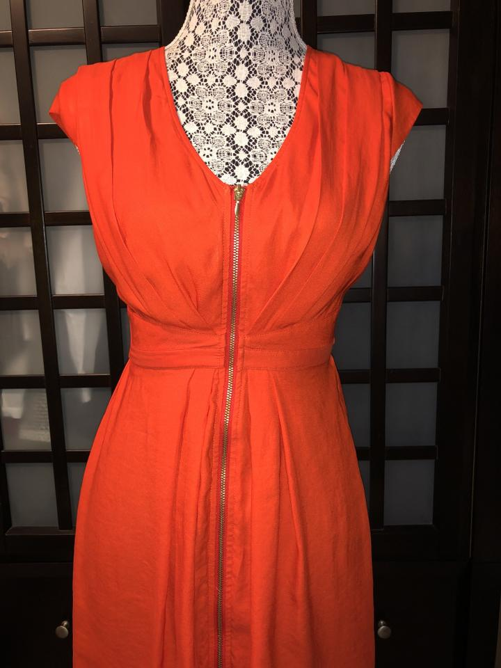 04fab9806909e H&M Orange Cap-sleeve Zipper Sundress Mid-length Short Casual Dress ...