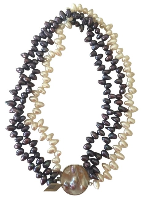Black White Silver Reversible & Pearl Statement Necklace Black White Silver Reversible & Pearl Statement Necklace Image 1