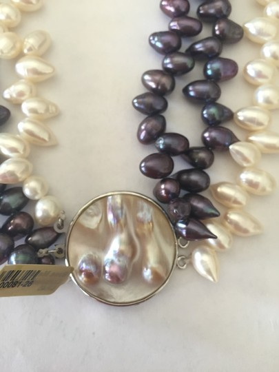 Other Reversible Black & White Pearl Statement Necklace