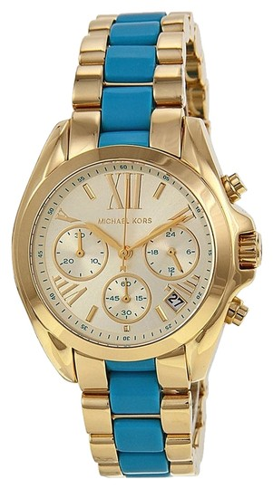 Preload https://item1.tradesy.com/images/michael-kors-michael-kors-gold-tone-and-blue-chambray-sport-style-ladies-designer-watch-4908010-0-0.jpg?width=440&height=440