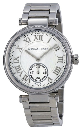 Michael Kors Michael Kors Silver Tone Round Ladies Designer Watch with Crystal Bezel