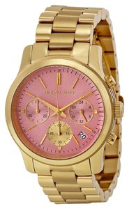 Michael Kors Michael Kors Pink Dial Gold Stainless Steel Luxury Ladies Watch