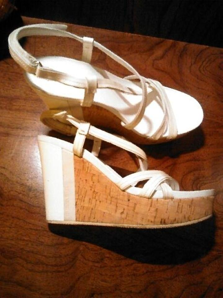 2aa6064f39df Prada White Leather and Cork Platform Sandals Wedges Size US 9.5 ...