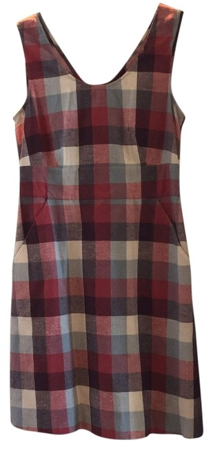 Theory short dress Multi color Plaid Red Linen on Tradesy