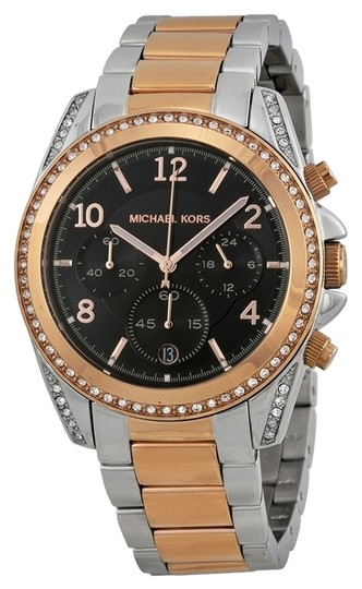 Michael Kors Michael Kors Rose Gold and Silver Black Dial with Crystals Ladies Designer Watch