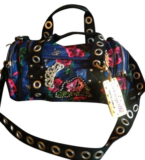 Item - Blue with Pink Roses Polyester Cross Body Bag