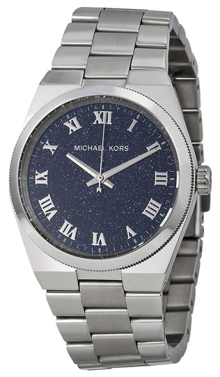 Michael Kors Michael Kors Navy Blue Shimmer Dial Silver Tone Stainless Steel Ladies Designer Watch