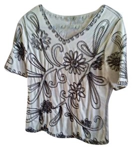 Other Top White with black & white sewing