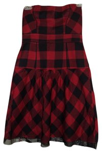 American Eagle Outfitters Plaid Black Strapless Dress