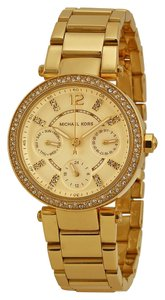Michael Kors Michael Kors Gold Tone Crystal Pave Champagne Dial Ladies Designer Watch