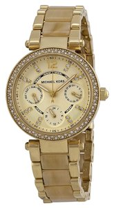 Michael Kors Michael Kors Crystal Pave Gold tone with Beige Horn Acetate Ladies Designer Watch