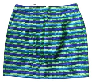 J.Crew Striped Mini Mini Skirt Blue/Green Stripe
