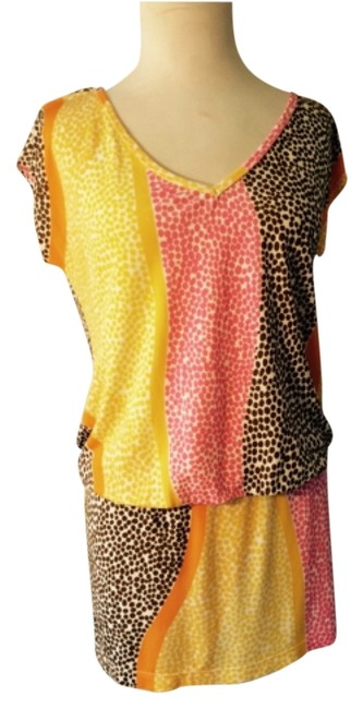 Item - Brown Yellow Pink White Orange Cover-up/Sarong Size 4 (S)