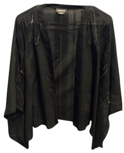 bebe Handbeaded Kimono Waterfall Jacket Shear Seethrough Lightweight Tunic