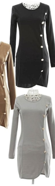 Hiyadelal Cocktail Mini Classy Military Buttons Mod Classic Trendy Style Fashion Dress Image 1