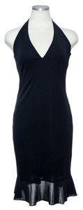 David Meister short dress Black Stretch Knit Halter on Tradesy