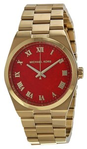 Michael Kors Michael Kors Gold Tone with Red Dial Stainless Steel Ladies Designer Watch