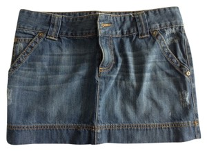 Old Navy Denim Blue Distressed Mini Mini Skirt Blue denim