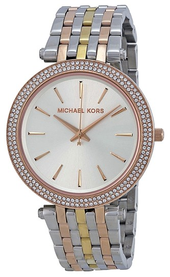Michael Kors Michael Kors Silver Gold nd Rose Gold with Crystals Ladies Designer Watch