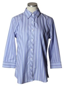 Foxcroft Non-iron Shaped Fit Striped Button Down Shirt Blue/White