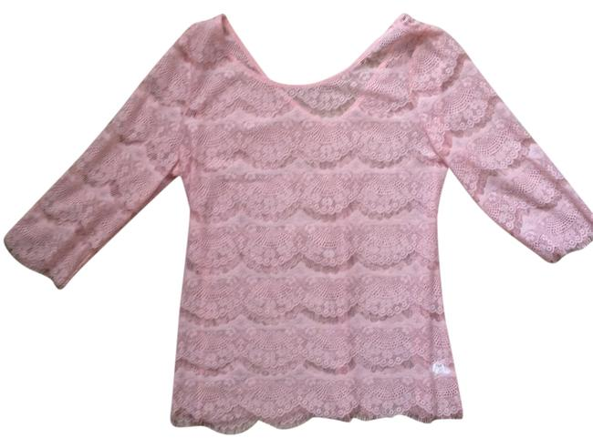 Pink Lace Blouse Sheer Delicate Top Light Pink
