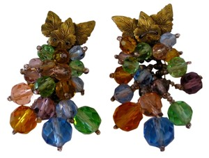 Pair of vintage dress clips with dangling crystals