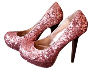 Xhilaration Sequins Heels Glitter Pink Pumps