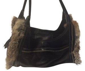 Maxx New York Tassel Fur Braided Leather Satchel in dark brown