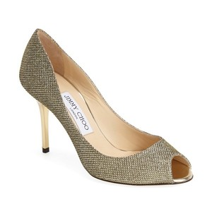 Jimmy Choo Gold Evelyn Glitter Peep Toe Pumps Size US 9.5 Regular (M, B)