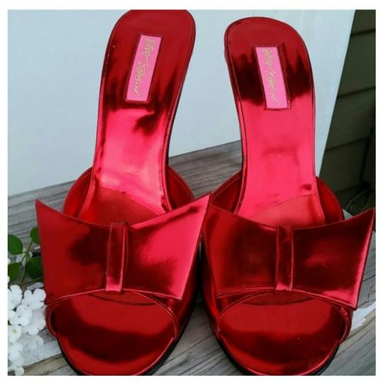 Betsey Johnson Bright Red Mules