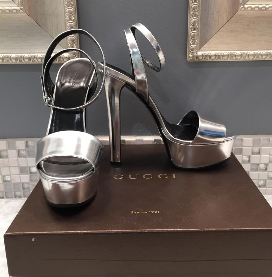 0290cf8cf09 Gucci Leila Leather Platinum Platform 8.5 Italy 39 Silver Sandals Image 8.  123456789