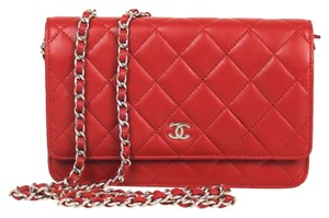Chanel Chanel Red Quilted Leather Silver HDW Wallet On Chain WOC Wallet mrc1660010416